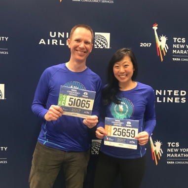 Shane and me picking up our bibs!